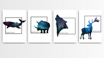 Animal silhouettes with starry night landscape texture vector