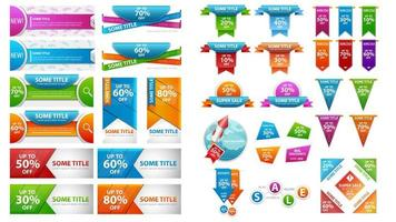 Universal discount banner and coupon template set vector