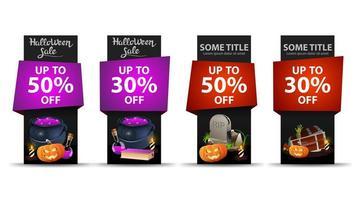 conjunto de banner vertical de venta de halloween vector