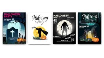 carteles de fiesta de halloween con hombres lobo y fantasmas