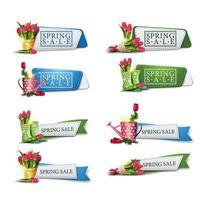 Spring sale ribbon banner set vector