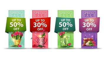 Spring sale vertical banner set in multiple colors vector