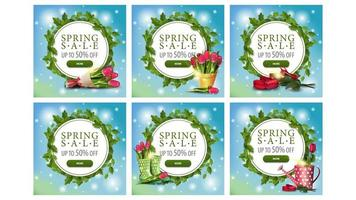 Spring sale circle frame banners with leaves vector