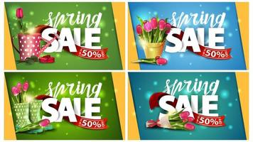 Angled Spring sale banners with ribbons and flowers vector