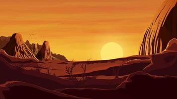 puesta de sol naranja en el paisaje desértico vector