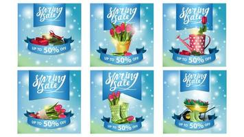 Spring sale glowing blue square banners vector