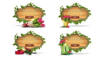 Spring sale wooden frame banners with leaves vector
