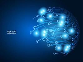 diseño de círculo de circuito azul brillante de alta tecnología