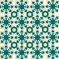 Green and gold outline Islamic pattern design