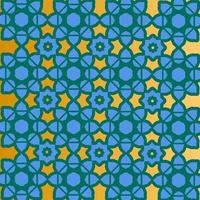 Blue, gold and green Islamic pattern design
