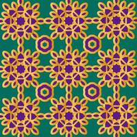 Gold and purple floral Islamic or Scandinavian pattern