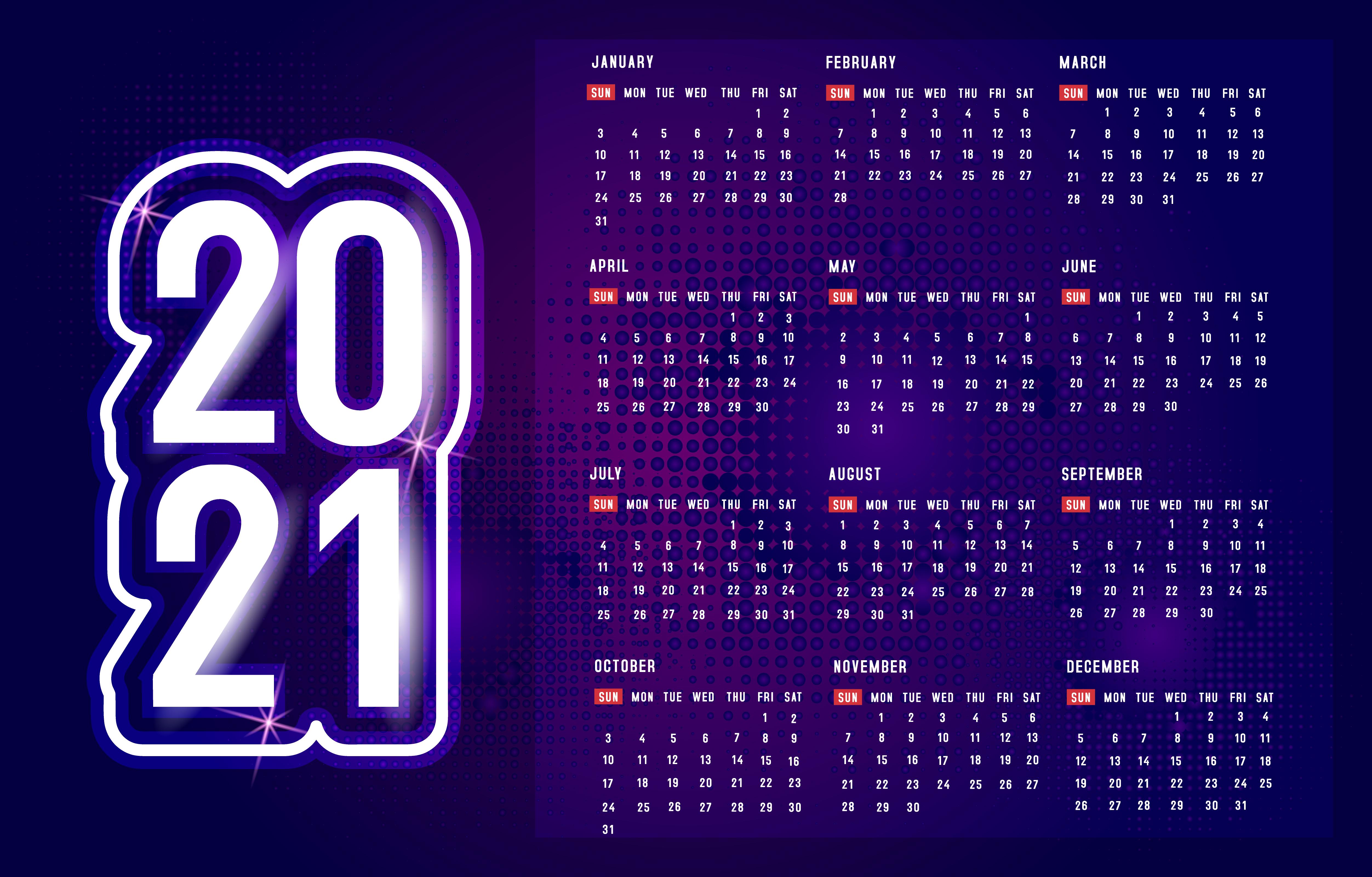 Calendrier 2021 Original Calendrier violet 2021 avec motif à pois   Telecharger Vectoriel