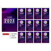 Purple vertical 2021 calendars with circle image space