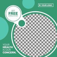 Medical and health circular green social media banner vector