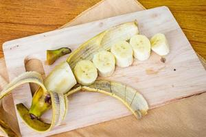 Banana slice on the chopping board