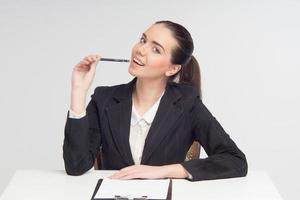 Emotional business lady with documents