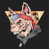 Cat with American flag headband  vector