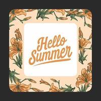 Hello summer floral nature pattern frame
