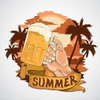 Summer beer party design vector