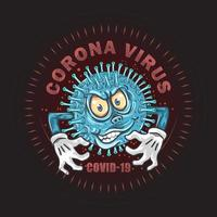 Coronavirus covid-19 monster germ design  vector