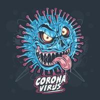 germen monstruo coronavirus vector