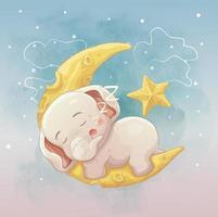 Baby elephant sleeping on crescent moon