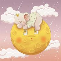 Éléphant mignon bébé fille dormant sur la lune
