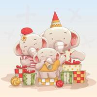 familia feliz elefante celebrando la navidad vector