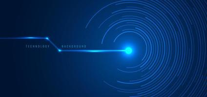 Abstract Technology Futuristic Concept Blue Circular Lines