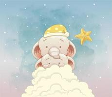 Two cute elephants hiding behind the clouds vector