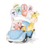 Cerdo, jirafa amigos en coche azul con globos