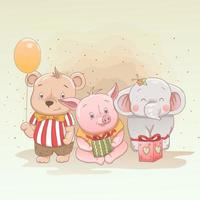 Cute baby bear, piglet and elephant with gifts