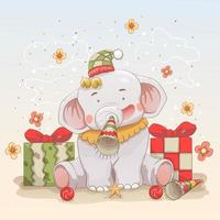 Baby elephant celebrating Christmas with gifts
