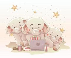 Three cute elephants watching movie together on laptop vector