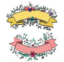 Doodle style floral banner vector