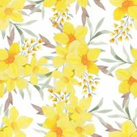 Yellow watercolor tropical floral seamless pattern vector