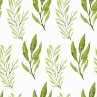 Watercolor green leaf branches seamless pattern vector