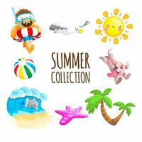 coleção de elementos de verão com golfinhos e muito mais vetor