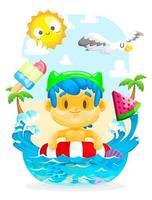 menino nadando na praia vetor
