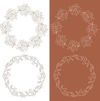 marcos florales blancos y naranjas vector