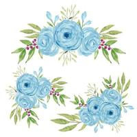Watercolor hand painted blue rose flower bouquet collection
