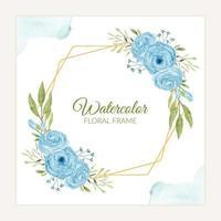 Rustic watercolor blue rose flower frame  vector