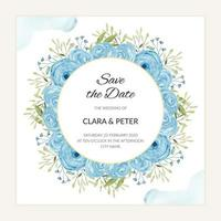 Watercolor blue floral round save the date card template