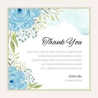 Thank you card template with watercolor blue roses vector