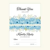 Wedding reply card template with blue watercolor rose decoration vector