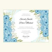 Watercolor wedding invitation card with blue roses vector