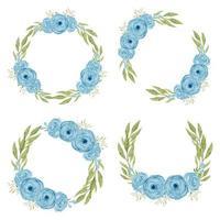 conjunto de grinaldas de flores rosas azuis vetor