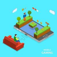 Mobile gaming flat isometric design vector