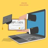 Hands in laptop holding diploma with graduation hat vector