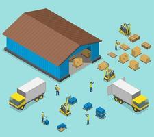 trabajadores que cargan y descargan camiones en el almacén vector